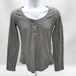 Free People Gray V-Neck Long Sleeve Shirt